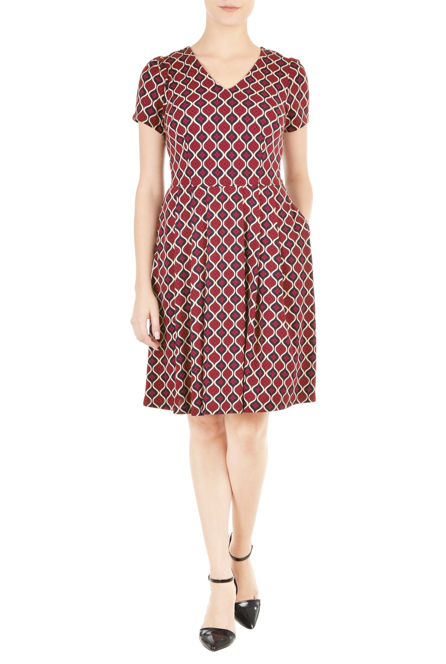 Eshakti Womens Tile Print Knit Fit-and-flare Dress