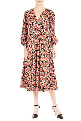 eShakti Womens Pleated floral print crepe dress $99.95 AT vintagedancer.com