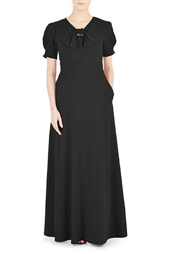 eShakti Womens Tie-neck cotton knit maxi dress $69.95 AT vintagedancer.com