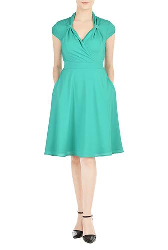 eShakti Womens Vintage style surplice crepe dress $69.95 AT vintagedancer.com