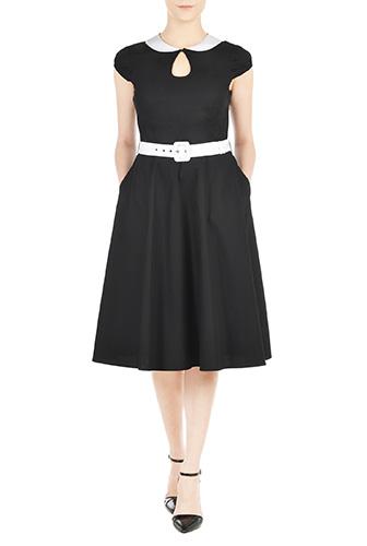 eShakti Womens Belted peter pan collar poplin dress $54.95 AT vintagedancer.com