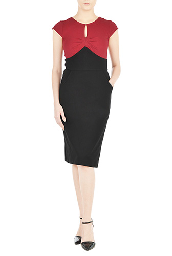 eShakti Womens Empire colorblock knit sheath dress $59.95 AT vintagedancer.com