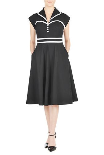eShakti Womens Shawl collar contrast trim poplin shirtdress $56.95 AT vintagedancer.com