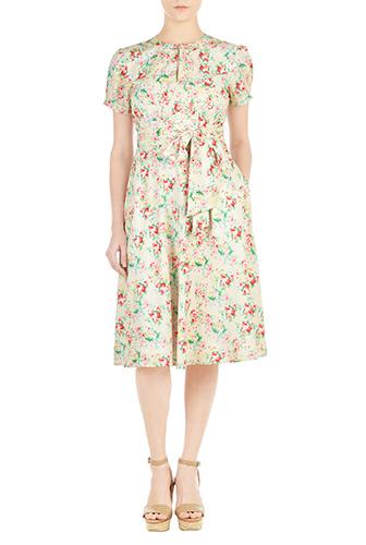 eShakti Womens Tux front floral print crepe dress $86.95 AT vintagedancer.com