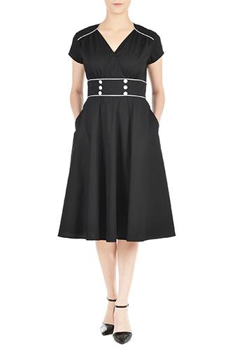 eShakti Womens Contrast piped trim cotton poplin dress $56.95 AT vintagedancer.com