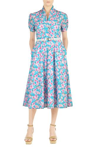 1930sStyleFashionDresses eShakti Womens Floral print crepe midi shirtdress $82.95 AT vintagedancer.com