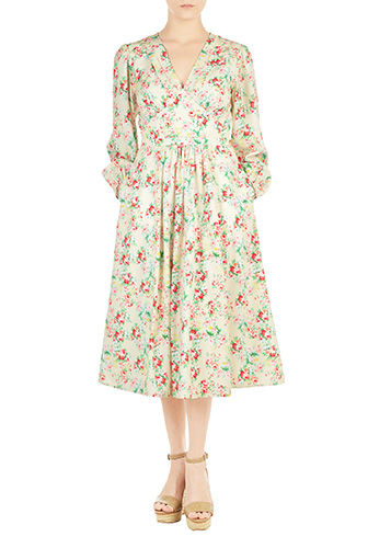 eShakti Womens Pleated floral print crepe dress $84.95 AT vintagedancer.com