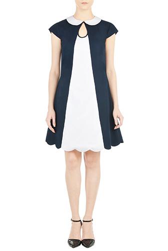 eShakti Womens Peter pan collar colorblock shift dress $64.95 AT vintagedancer.com