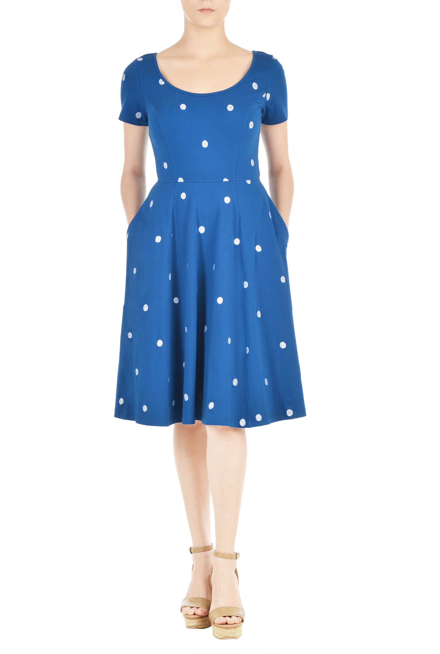 Eshakti Womens Polka Dot Embellished Cotton Knit Dress