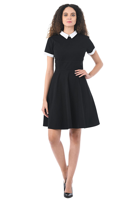 Contrast collar cotton poplin dress $52.95 AT vintagedancer.com