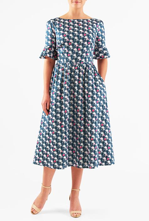 1930s Style Fashion Dresses Flounce sleeve cherry print cotton dress $54.95 AT vintagedancer.com