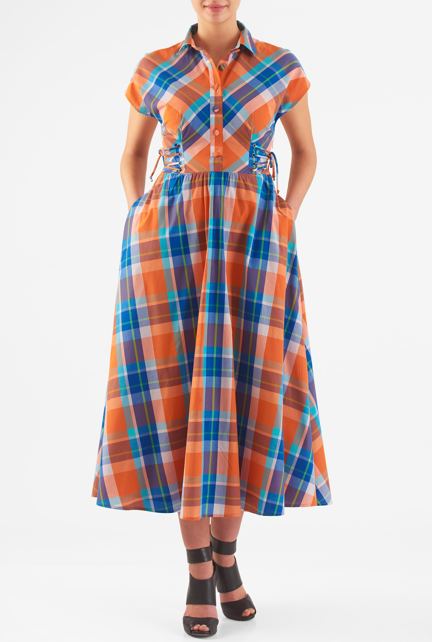 1940s Day Dresses eShakti Womens Lace-up cotton check midi shirtdress $66.95 AT vintagedancer.com