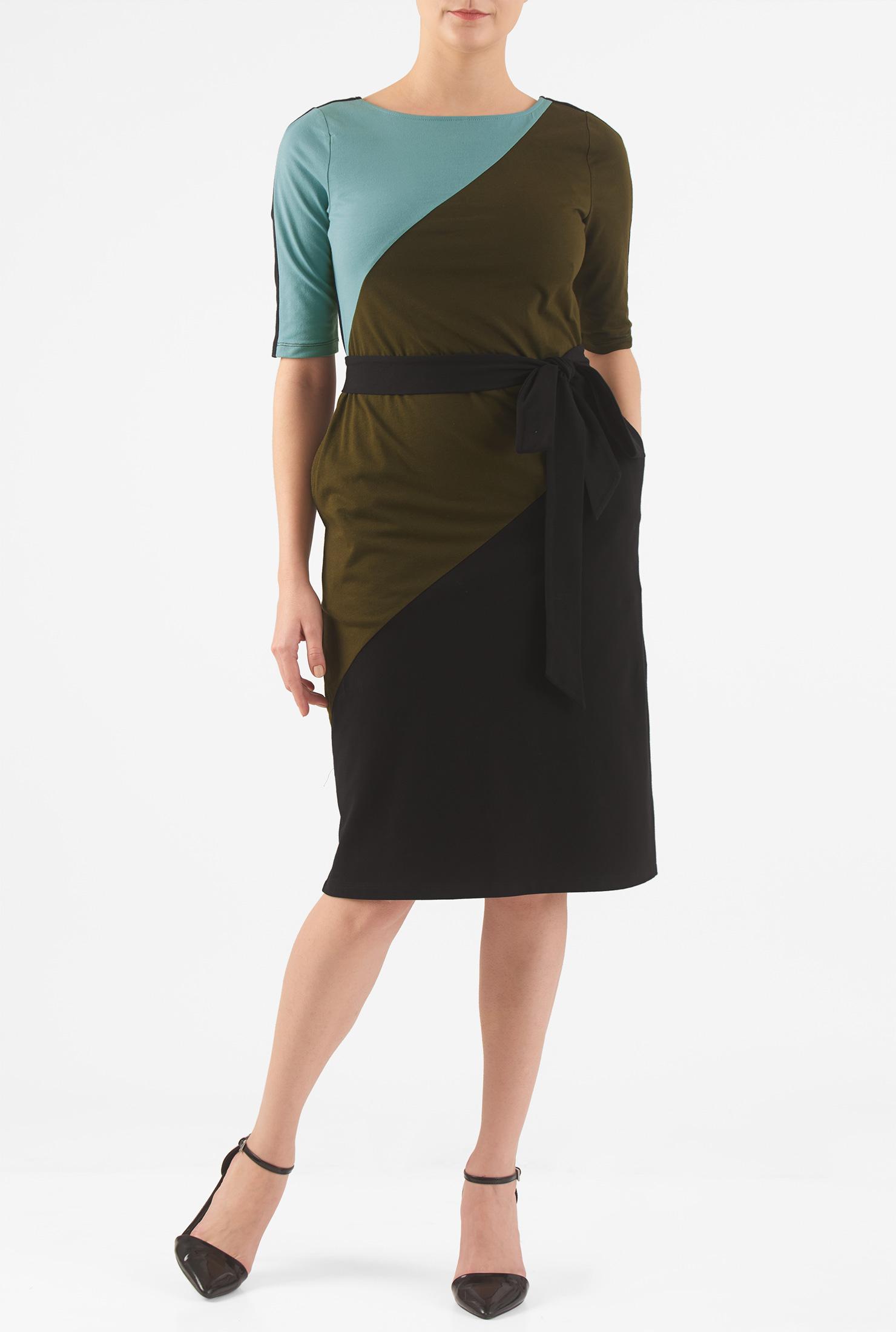 Eshakti Womens Sash Tie Colorblock Cotton Knit Shift Dress