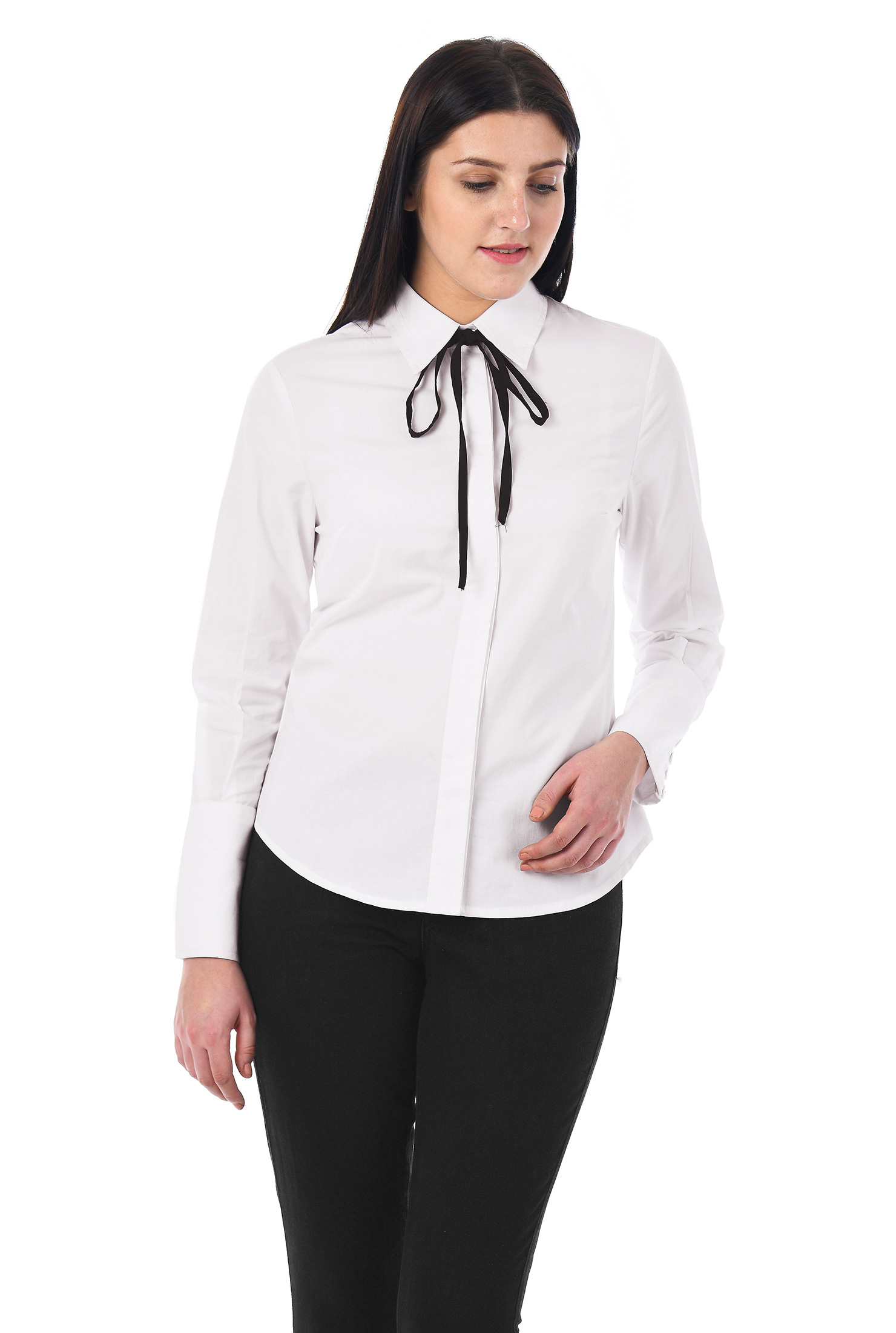 1940s Blouses and Tops Contrast tie neck cotton poplin shirt $36.95 AT vintagedancer.com