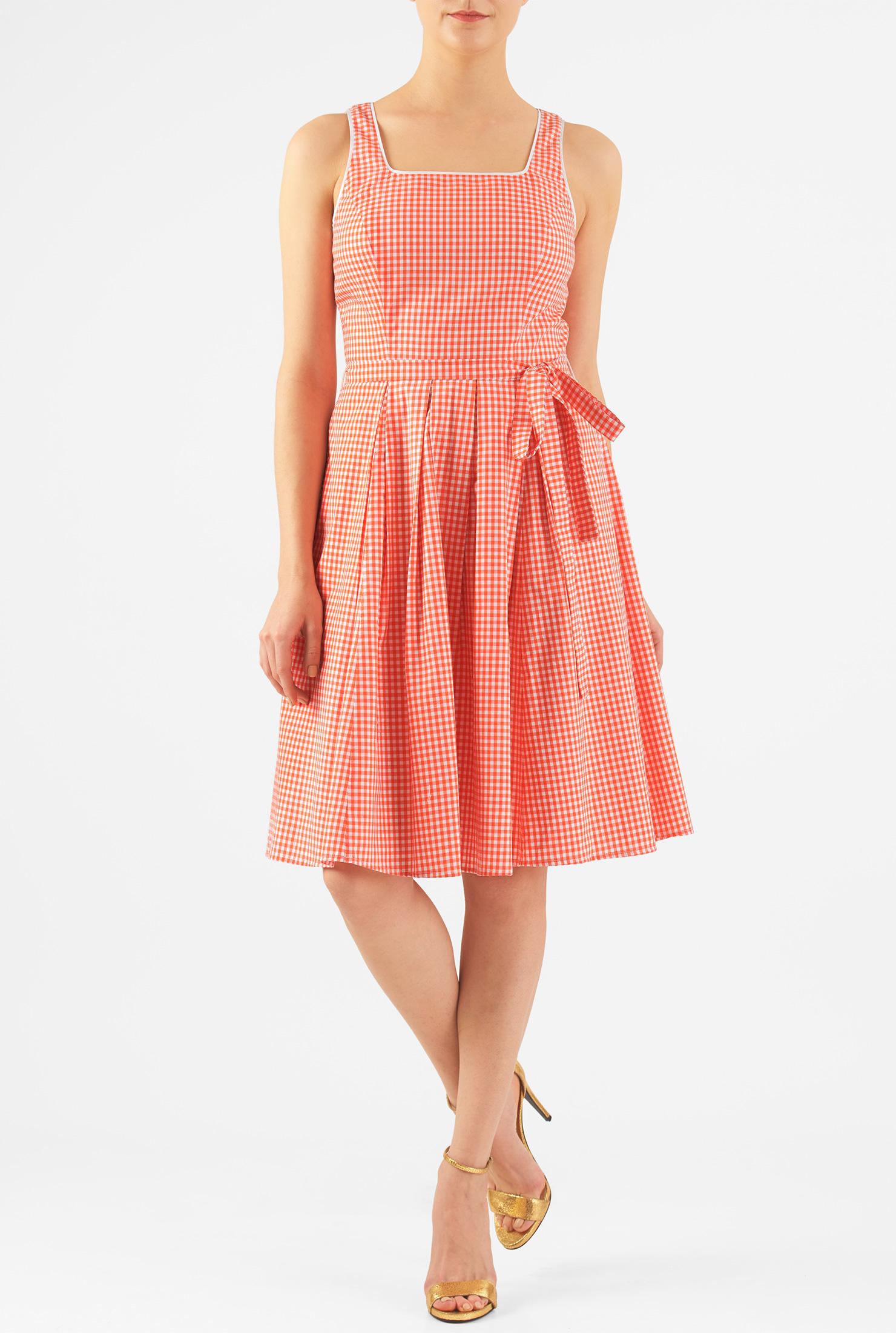 1950s Style Dresses eShakti Womens Gingham check cotton sash tie dress $62.95 AT vintagedancer.com