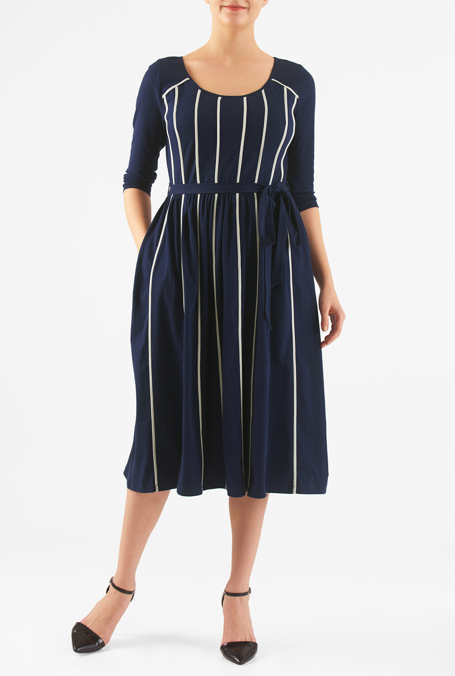 eShakti Women's Contrast stripe trim cotton knit dress CL0045871
