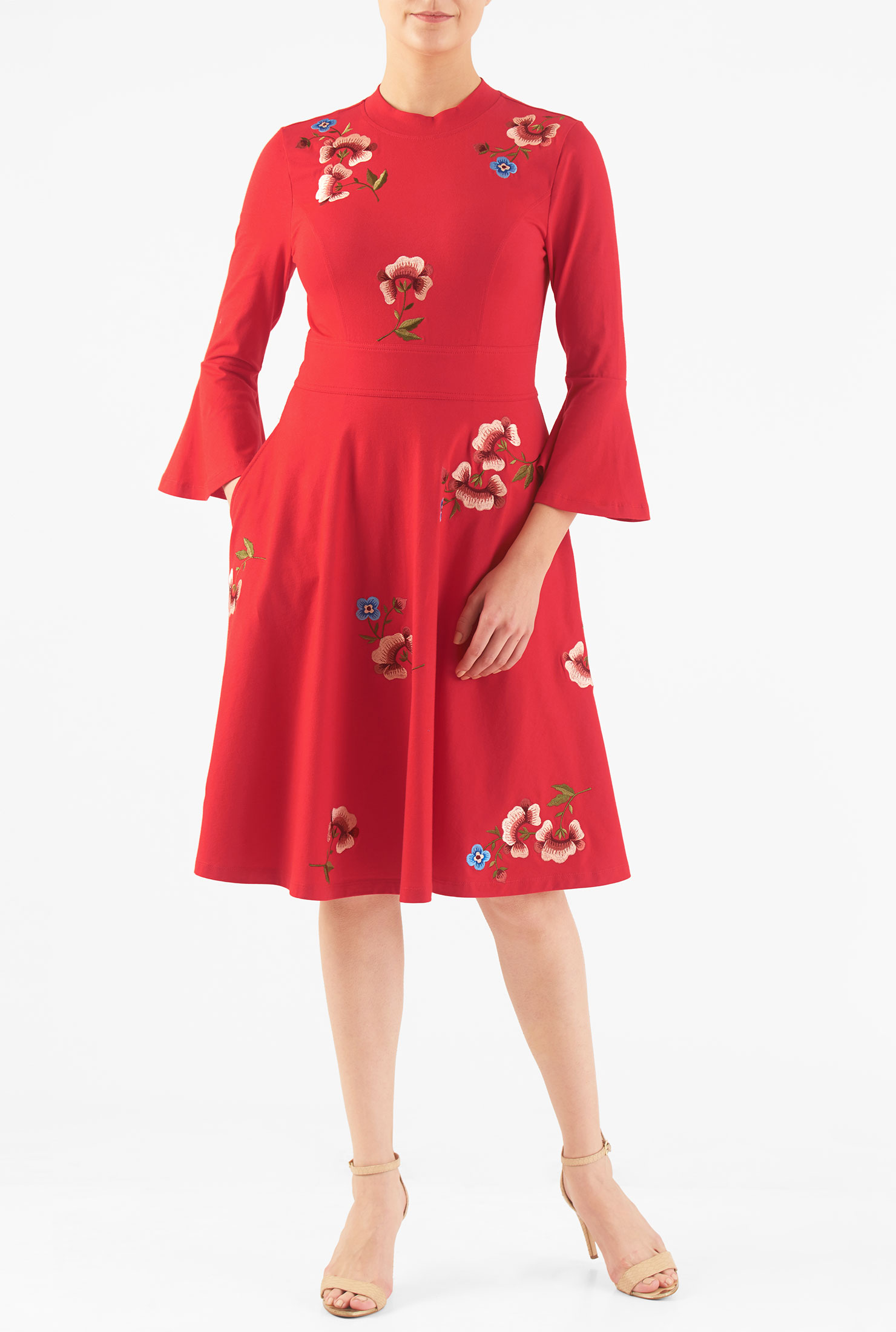 Eshakti Womens Ponte Knit Fit And Flare Dress