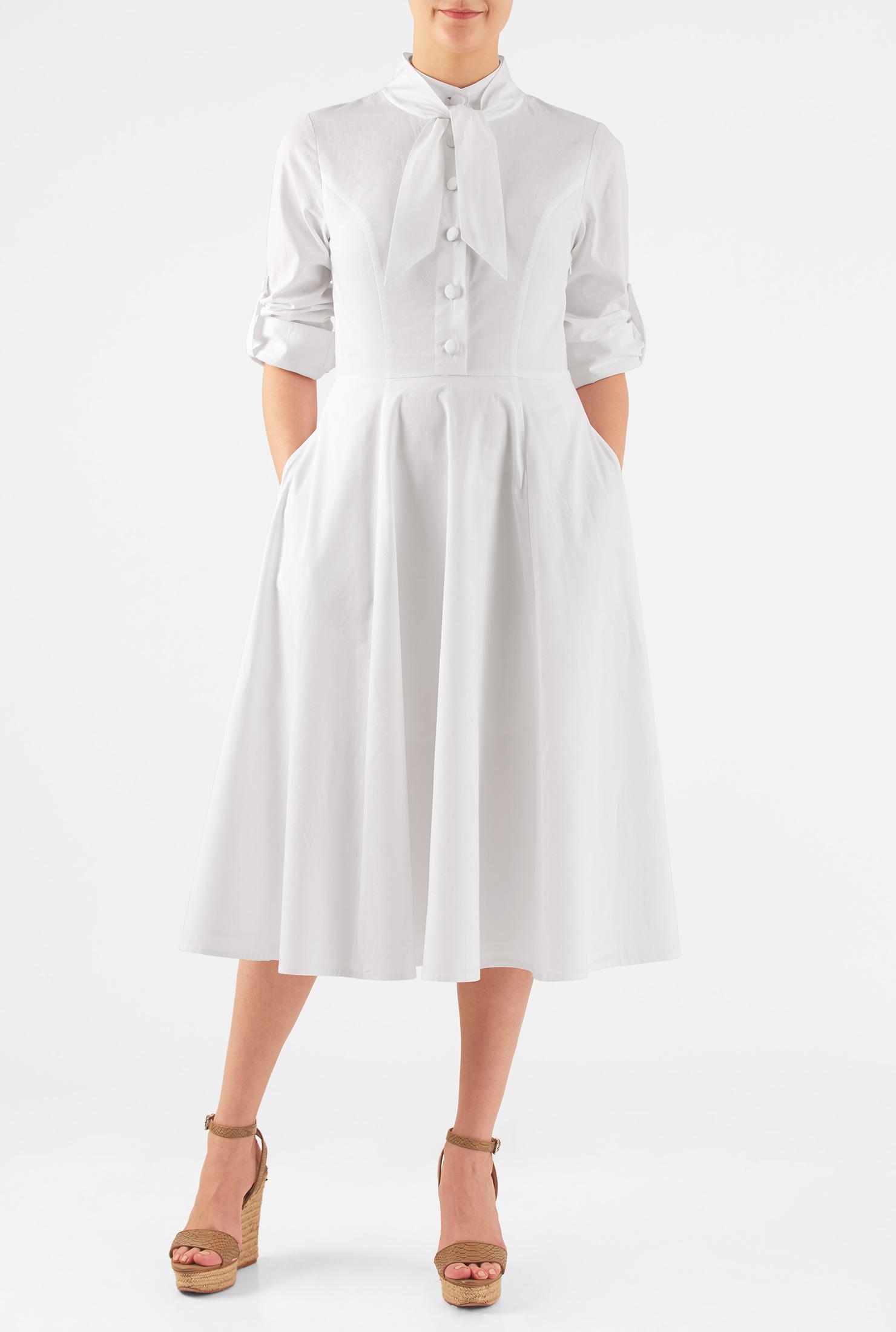 1930s Style Fashion Dresses eShakti Womens Tie neck cotton poplin dress $62.95 AT vintagedancer.com