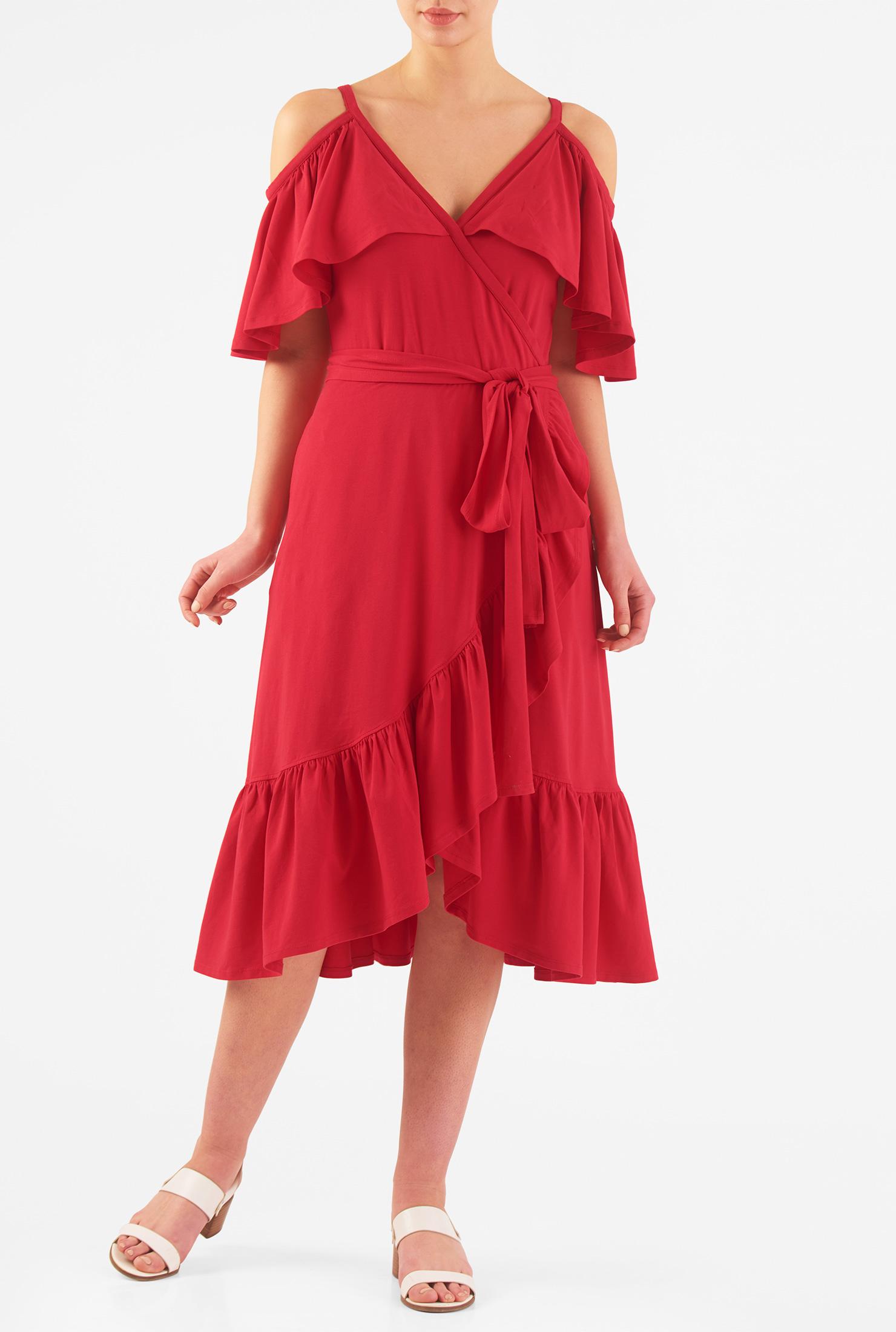 eShakti Women's Cold shoulder ruffle cotton knit faux-wrap dress CL0045933