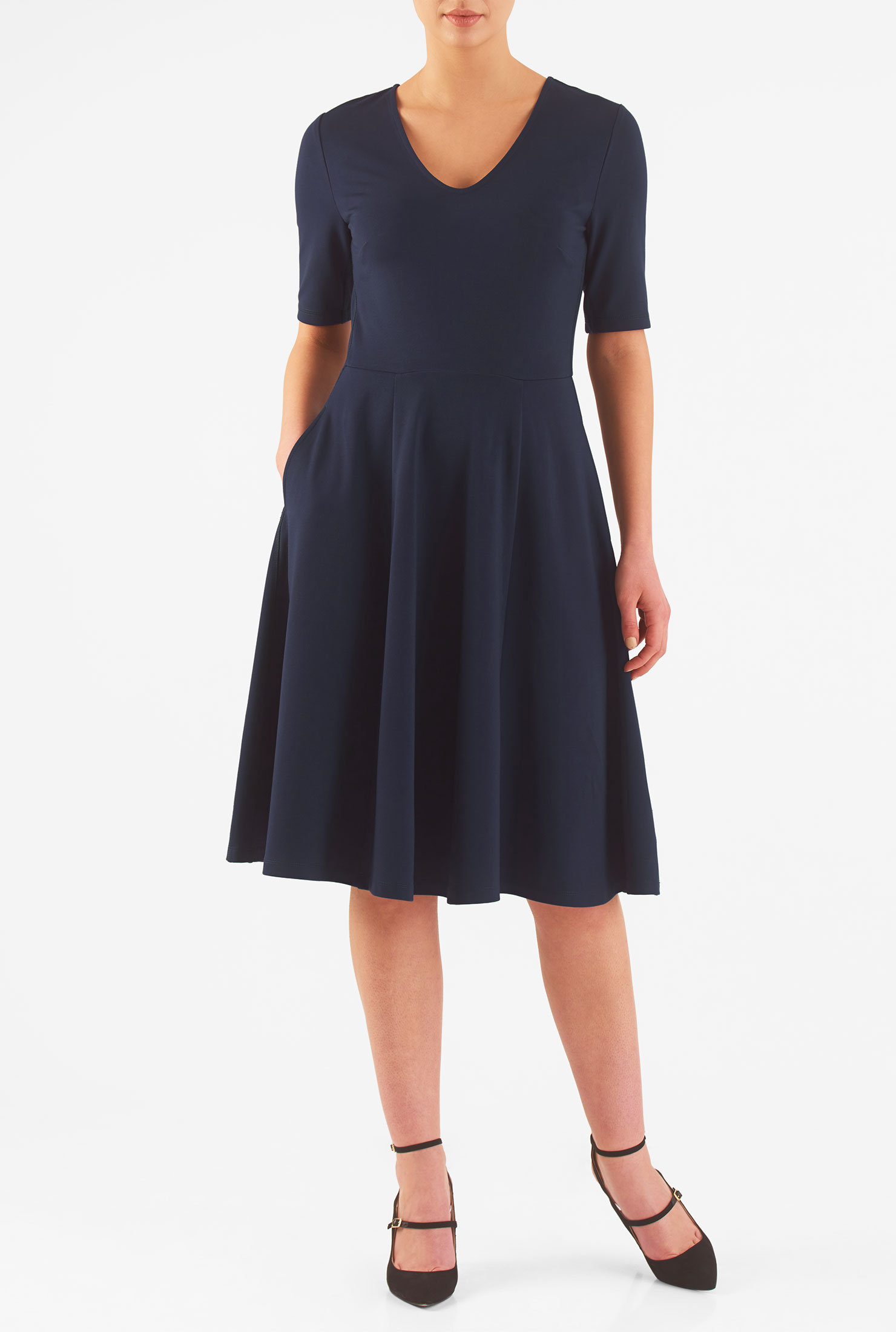 Eshakti Womens Ponte Knit Fit-and-flare Dress