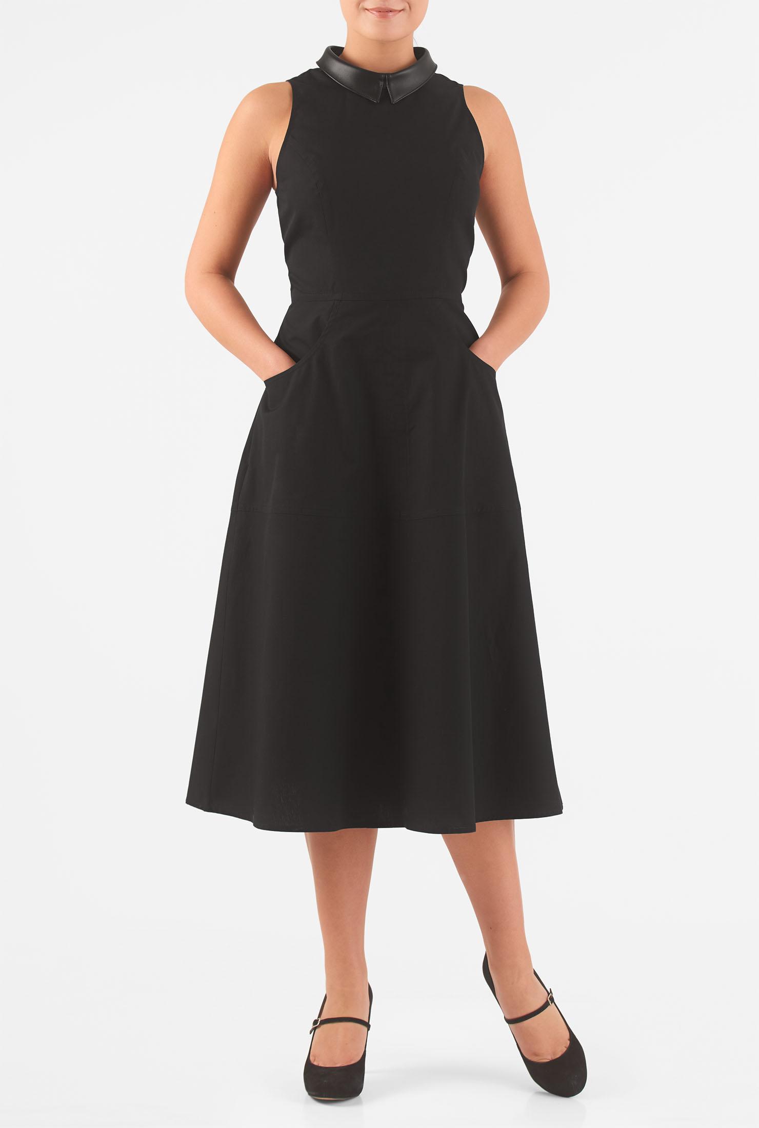 eShakti Women's Faux leather collar poplin midi dress CL0046037