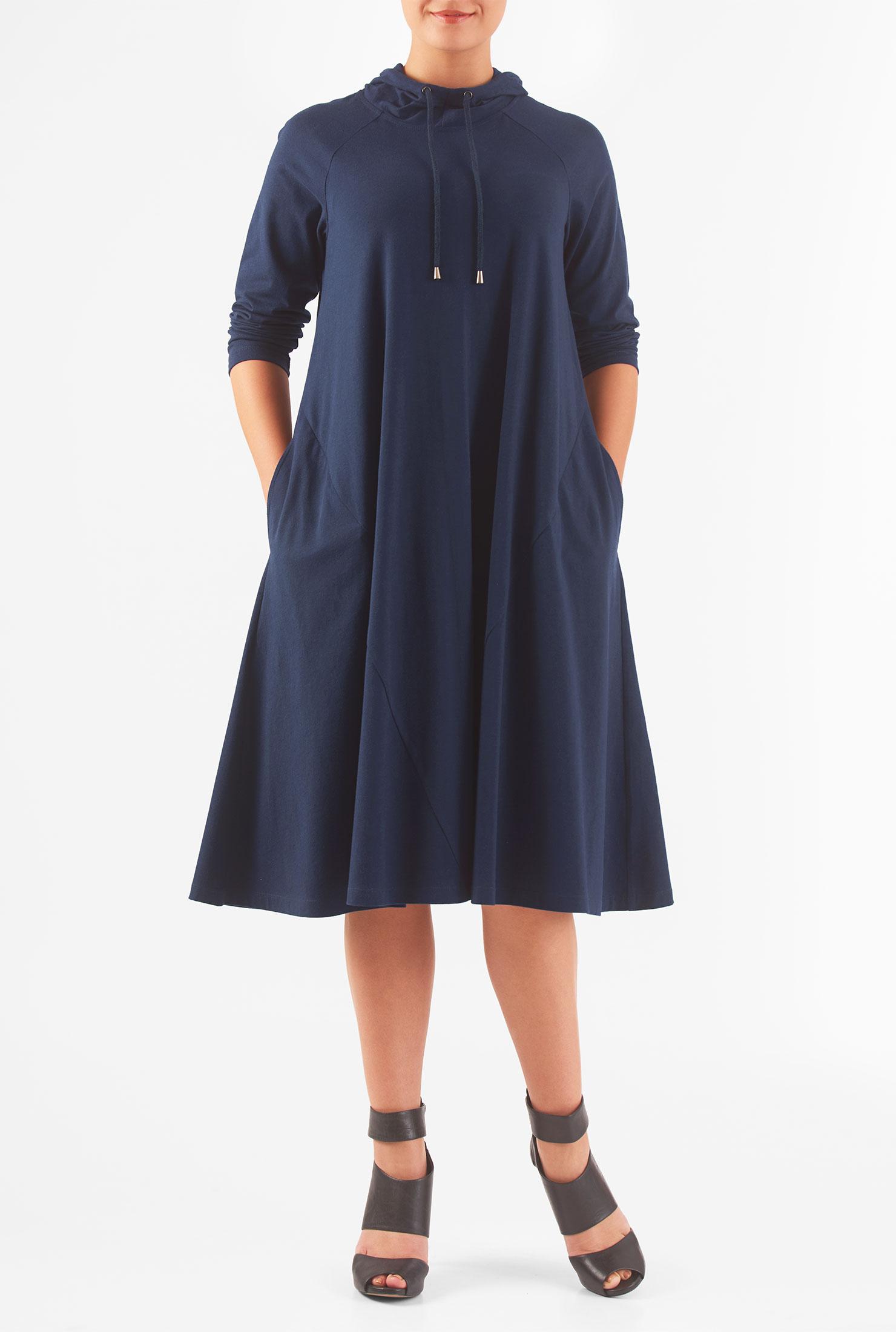 Eshakti Womens Hoodie Cotton Knit Shift Dress