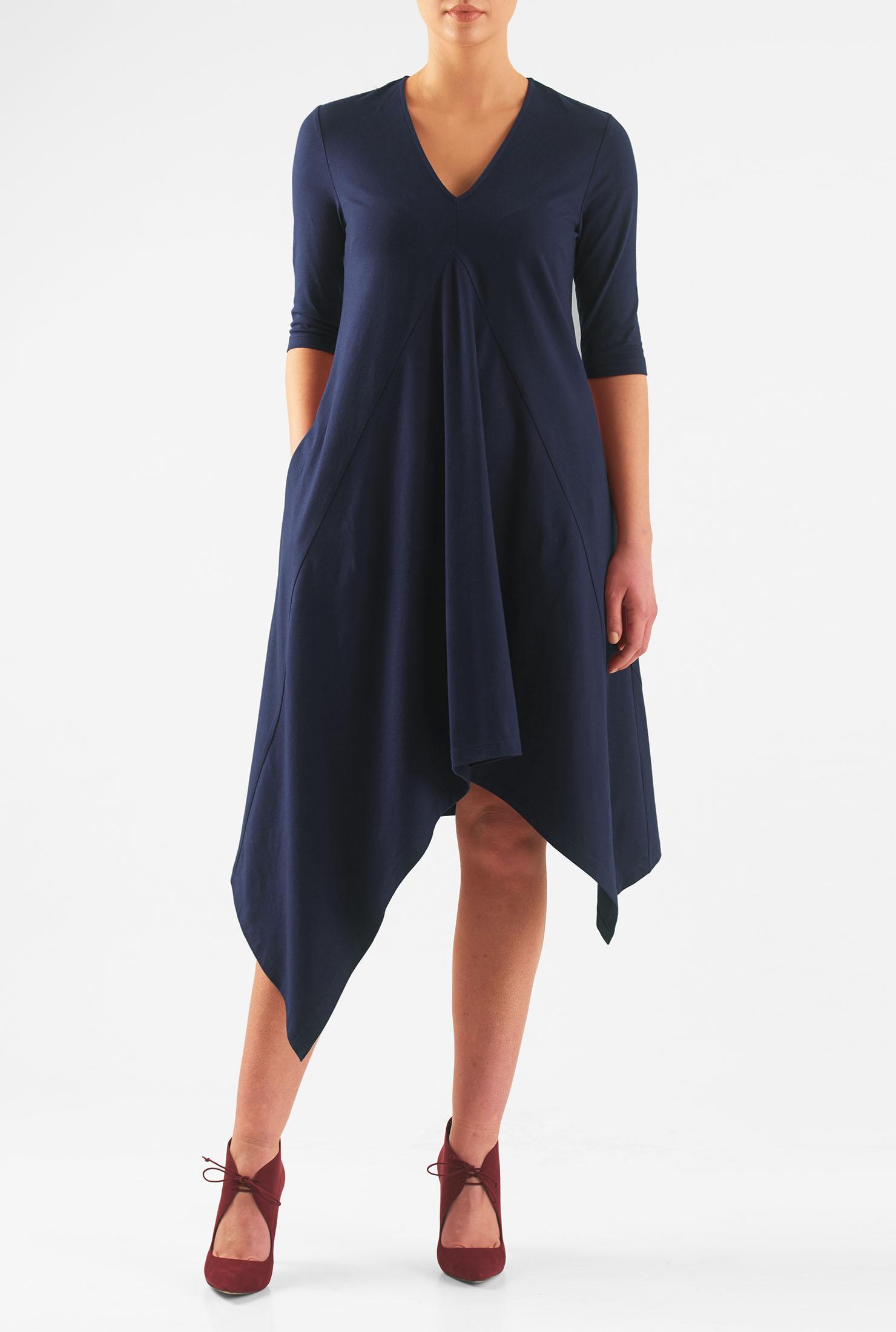 Eshakti Womens Asymmetric Hem Cotton Knit Dress