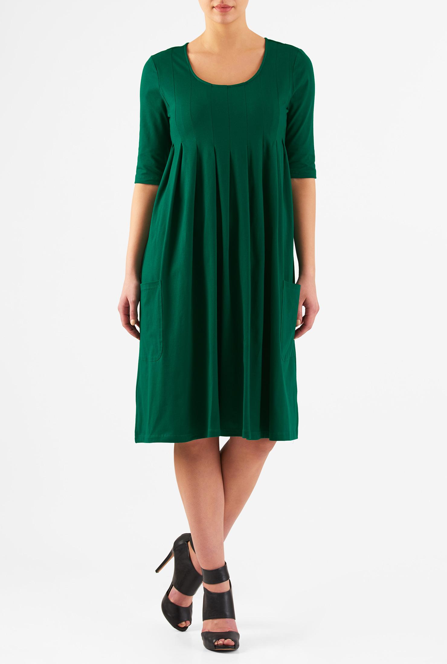 eShakti Women's Scoop neck pleated cotton knit dress CL0046516