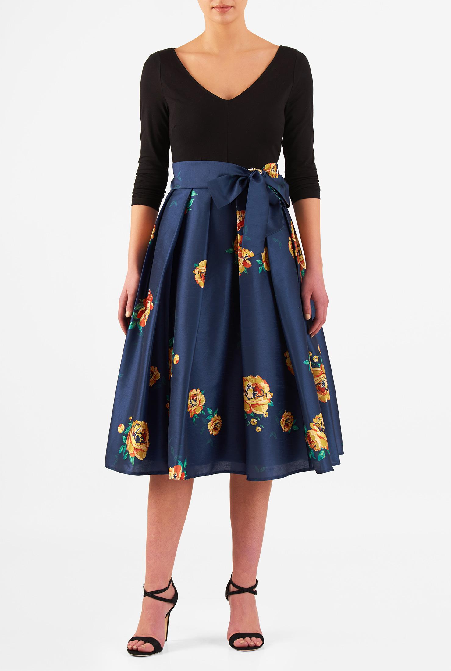 Eshakti Women S Floral Print Dupioni And Cotton Knit Dress image