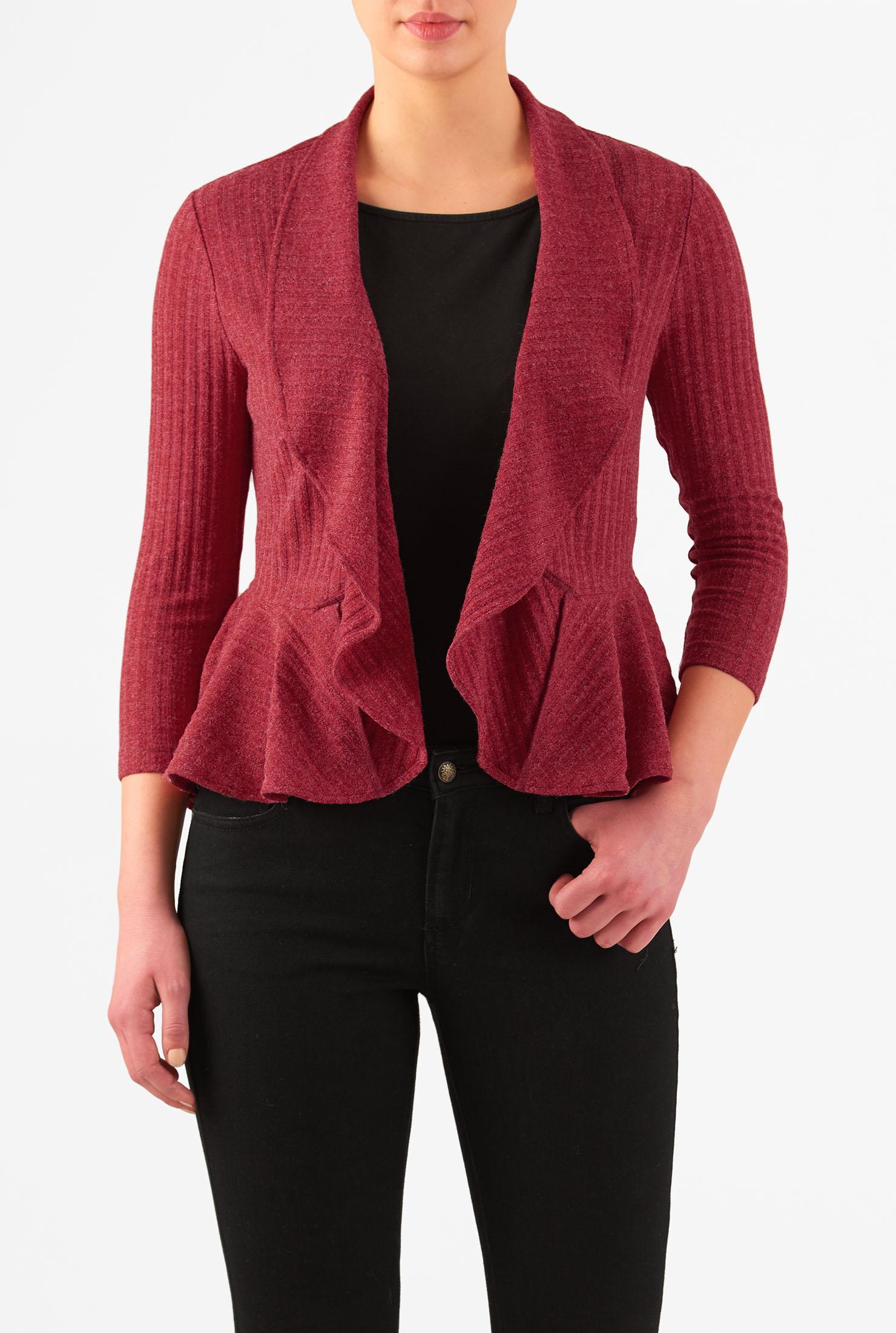 eShakti Women's Ruffle peplum rib sweater knit cardigan CL0046621