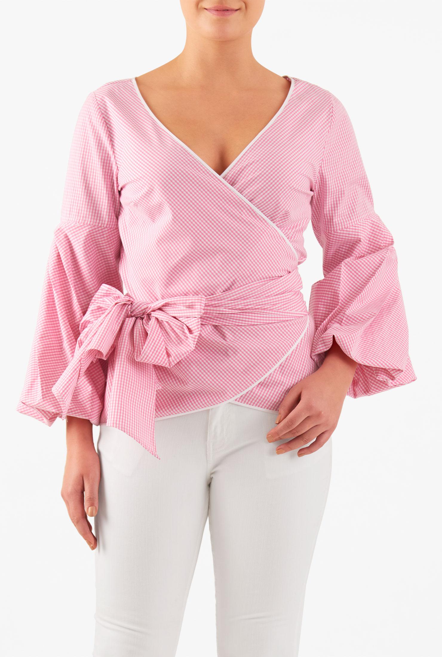 Eshakti Womens Sleeve Detail Oxford Gingham Wrap Blouse