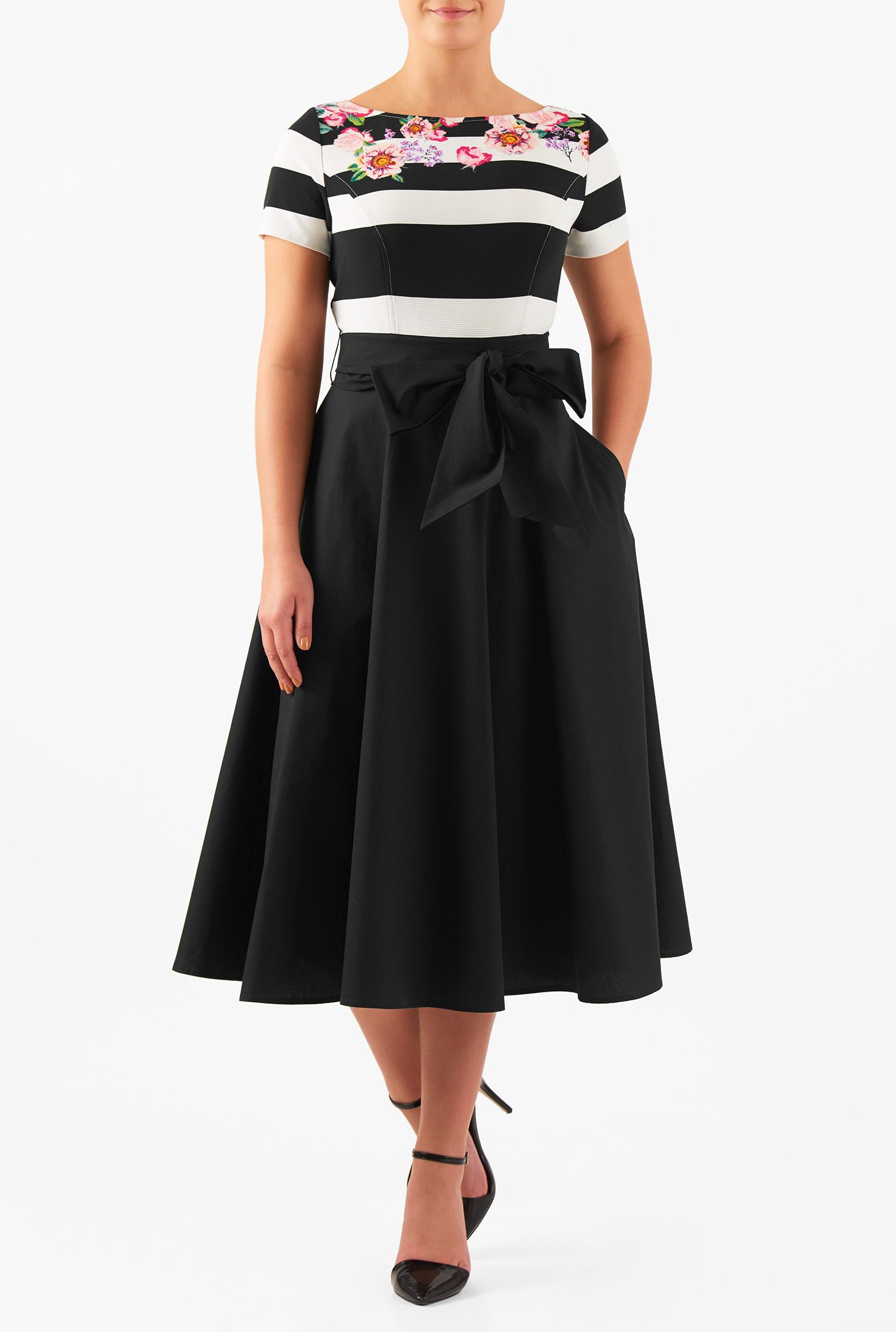 eShakti Women's Floral stripe rib knit mixed media midi dress CL0046904