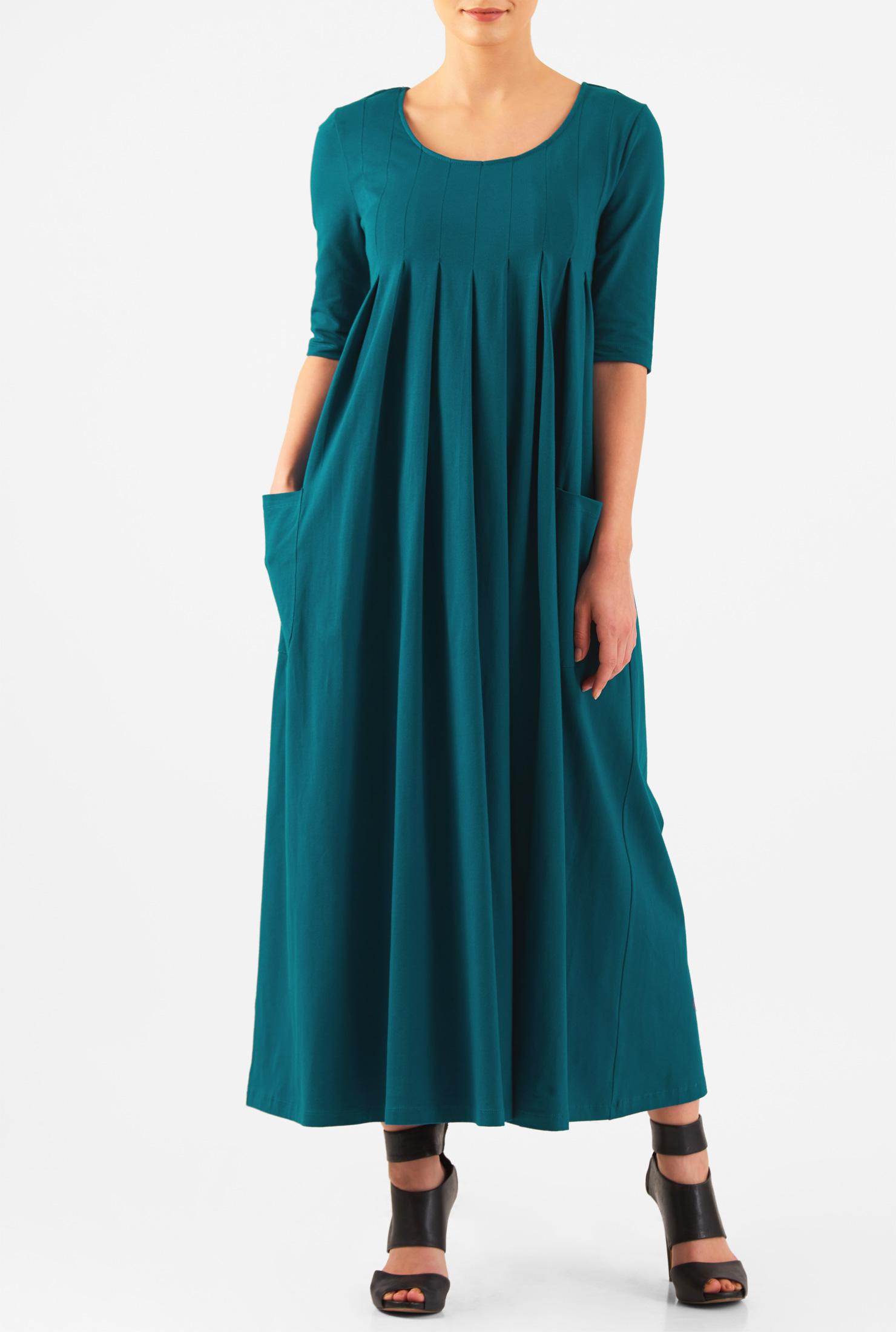 eShakti Women's Scoop neck pleated cotton knit maxi dress CL0047096