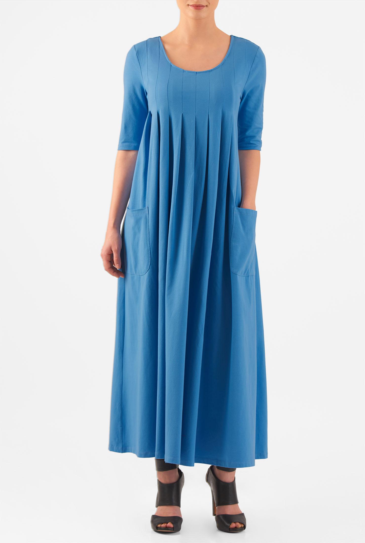 eShakti Women's Scoop neck pleated cotton knit dress CL0047101