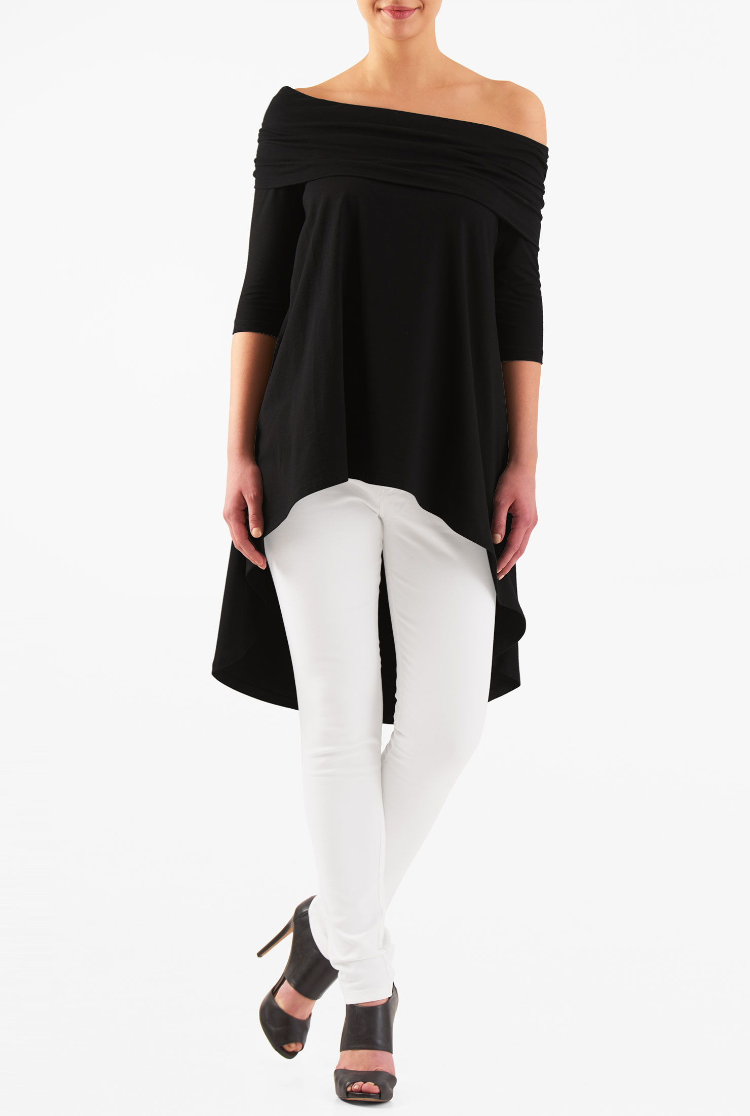Eshakti Women S Off Shoulder Asymmetric Hem Cotton Knit Top image