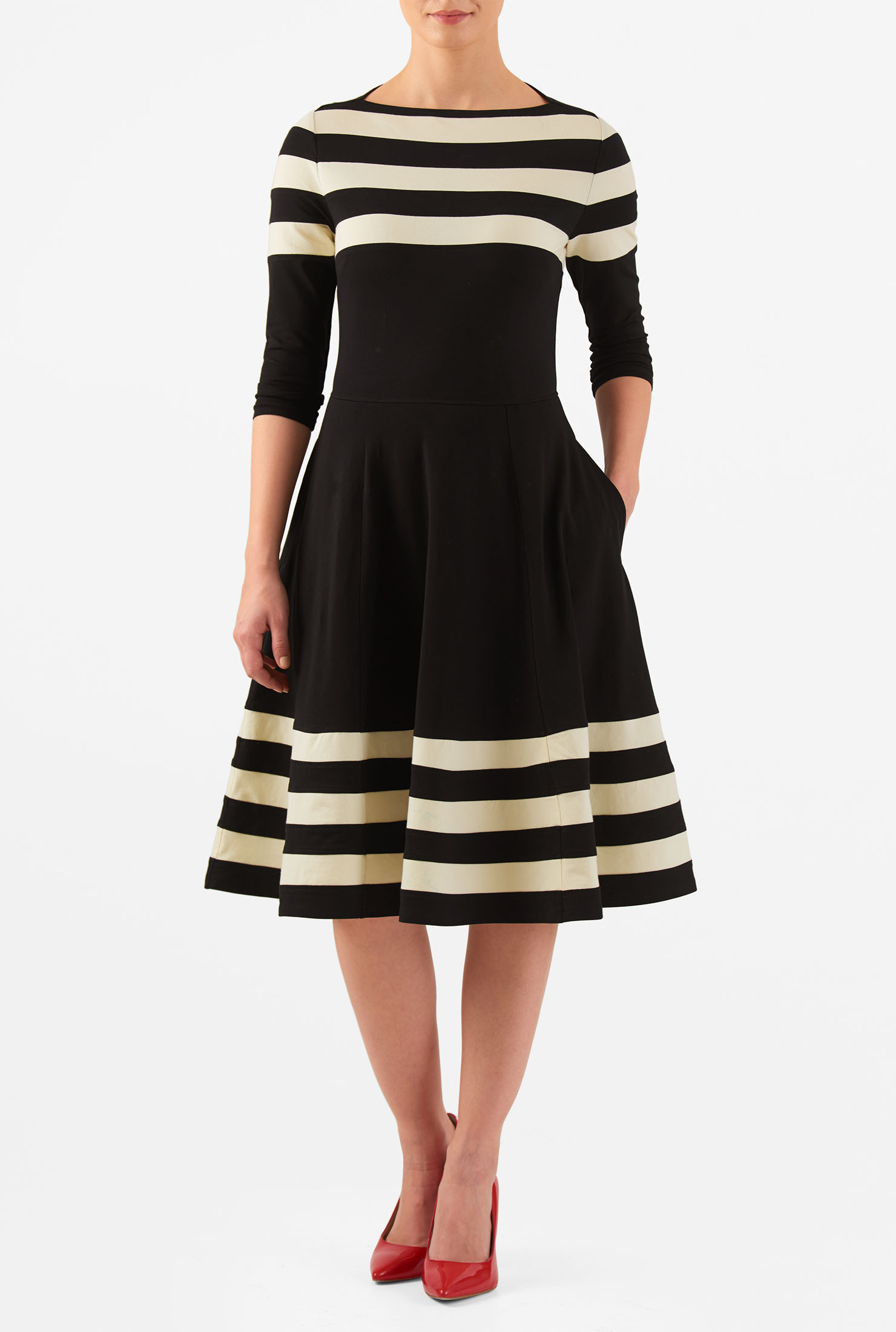 Eshakti Womens Banded Stripe Cotton Knit Fit-and-flare Dress