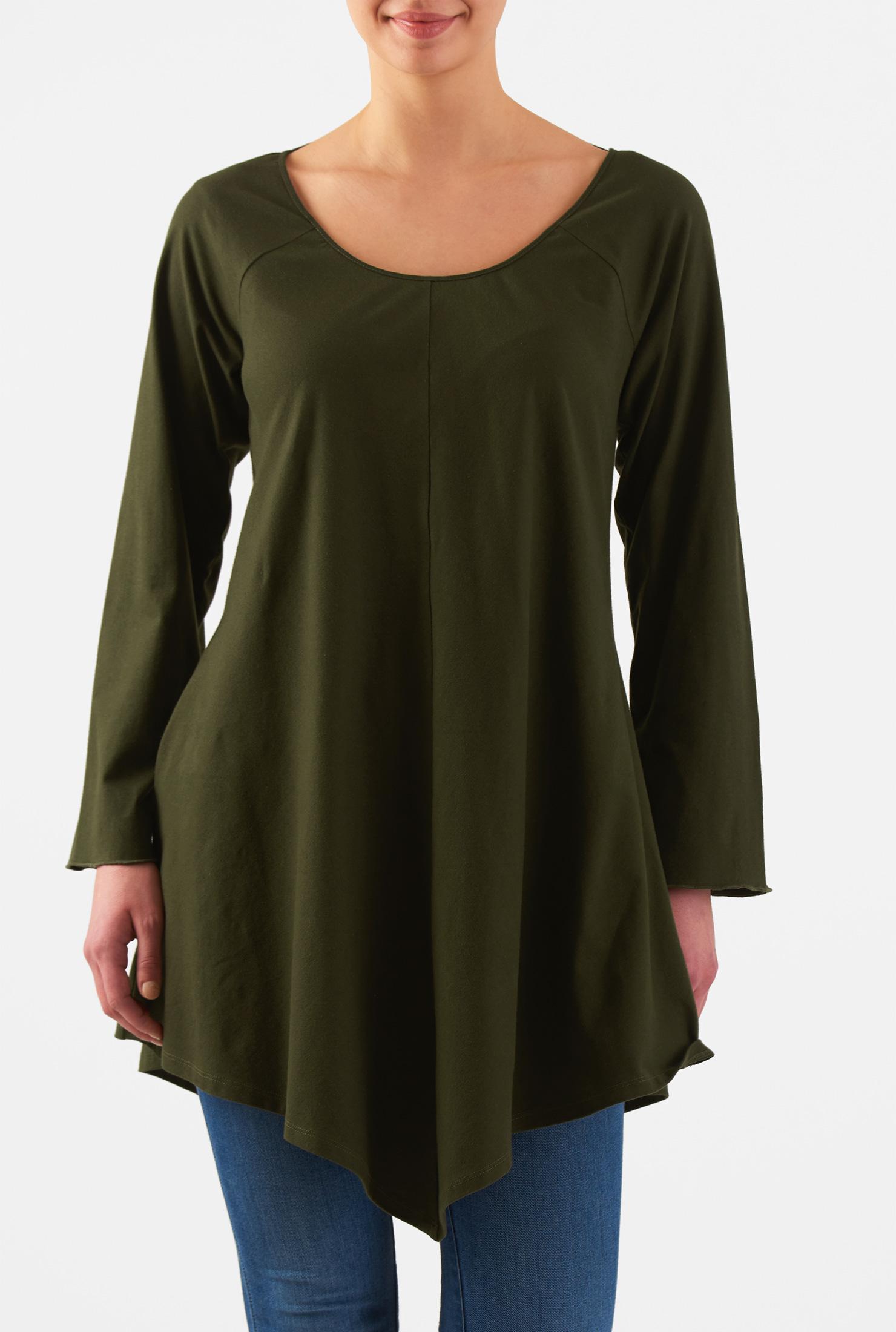 Image of eShakti Women's Angled hem cotton knit tunic