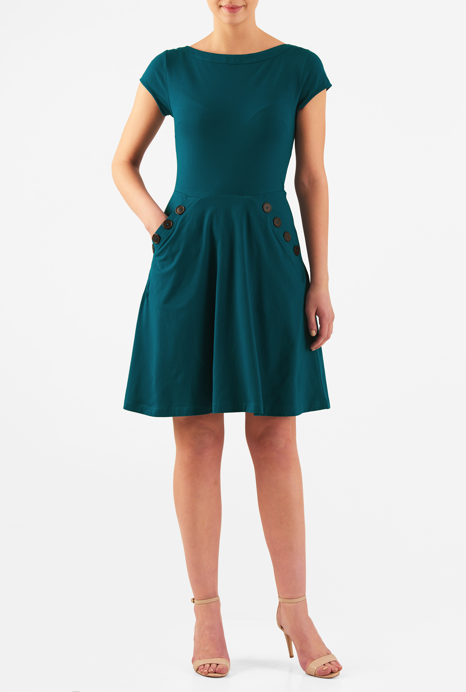Eshakti Womens Large Button Pocket Knit Dress