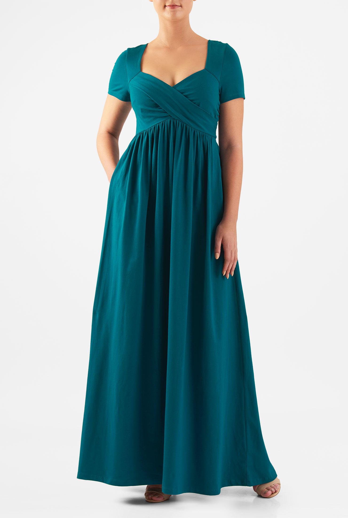 Eshakti Womens Cross Front Empire Cotton Knit Maxi Dress