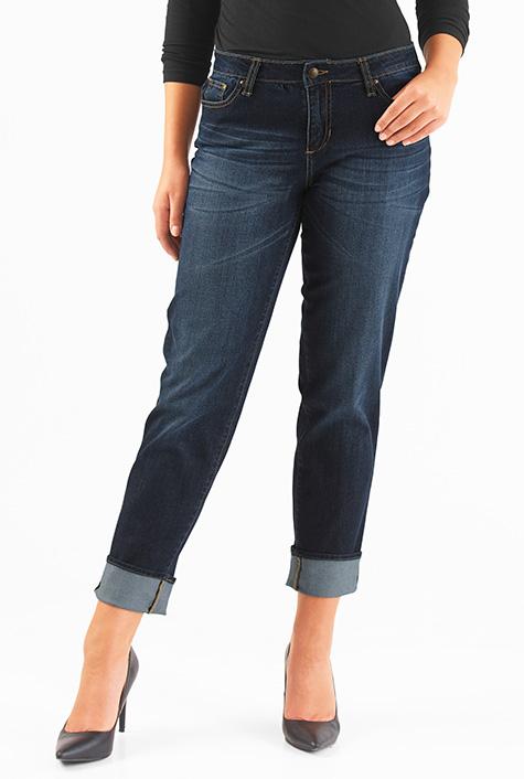 eShakti Women's Deep indigo denim girlfriend jeans