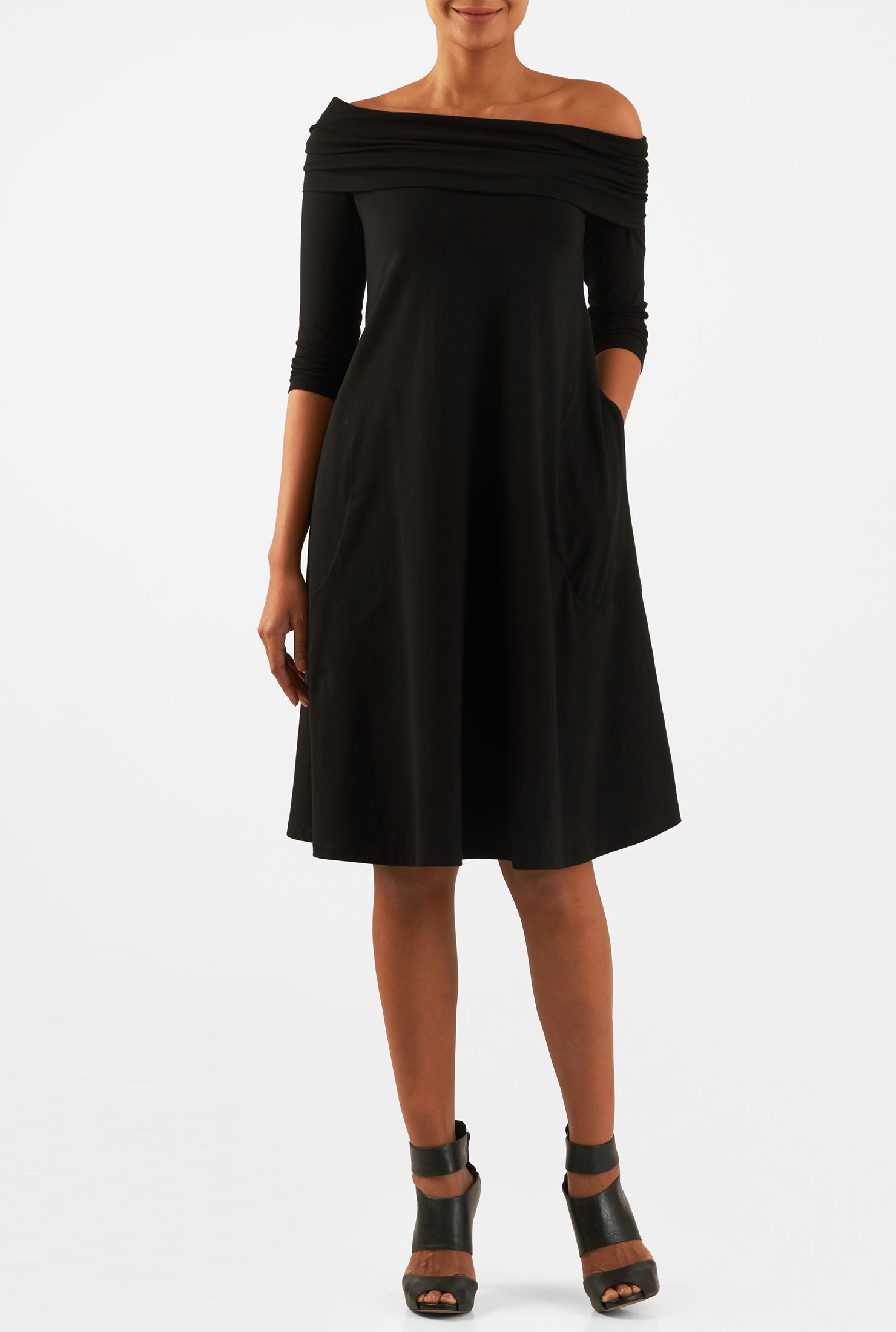 4f73b80e1b eShakti Women s Off-shoulder cotton knit shift dress -  54.95