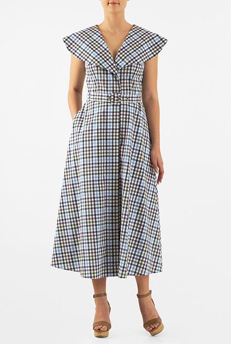 1930s Style Day Dresses eShakti Womens Shawl collar gingham check cotton midi shirtdress $54.95 AT vintagedancer.com