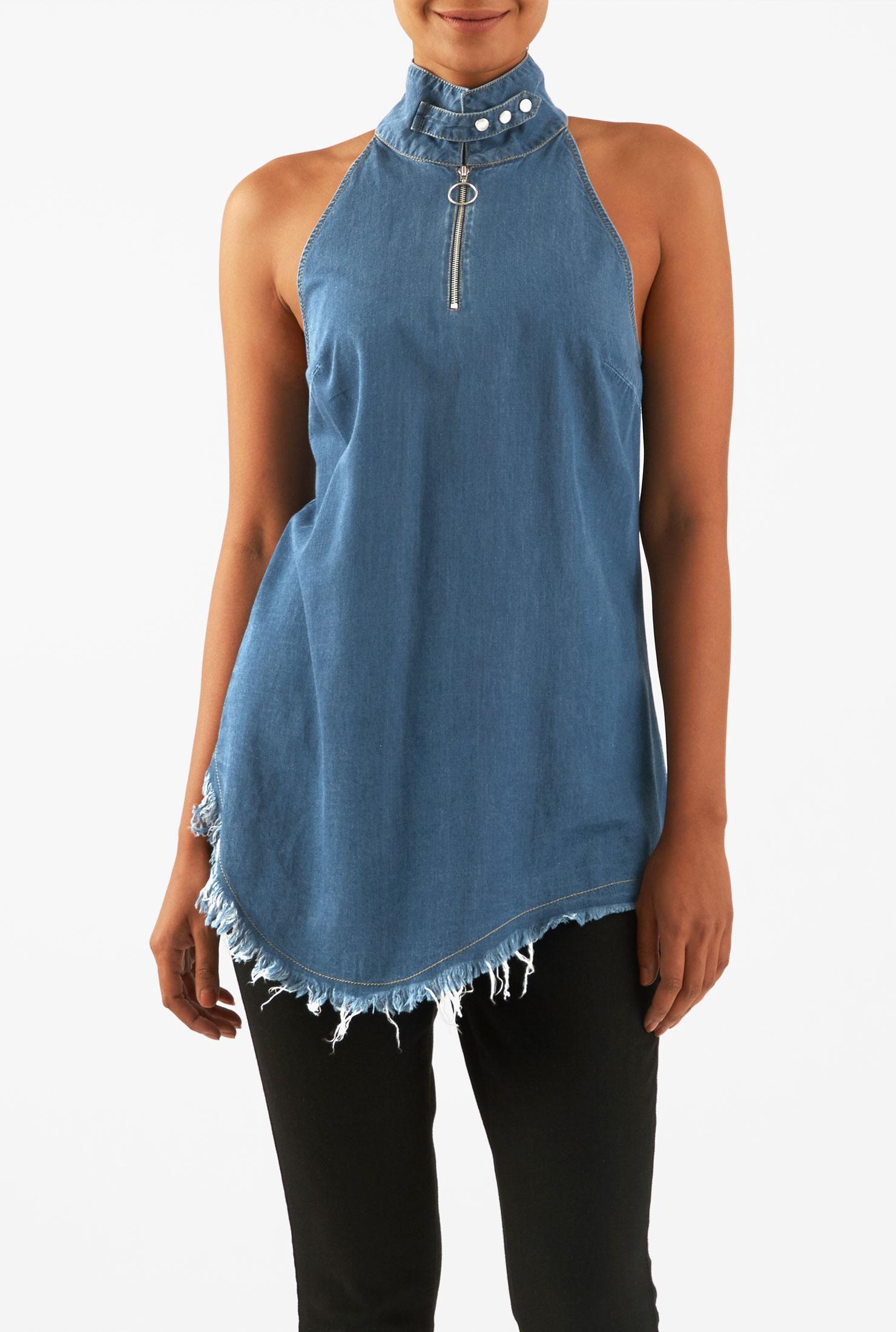Eshakti Women S Frayed Edge Asymmetric Hem Cotton Denim Top image
