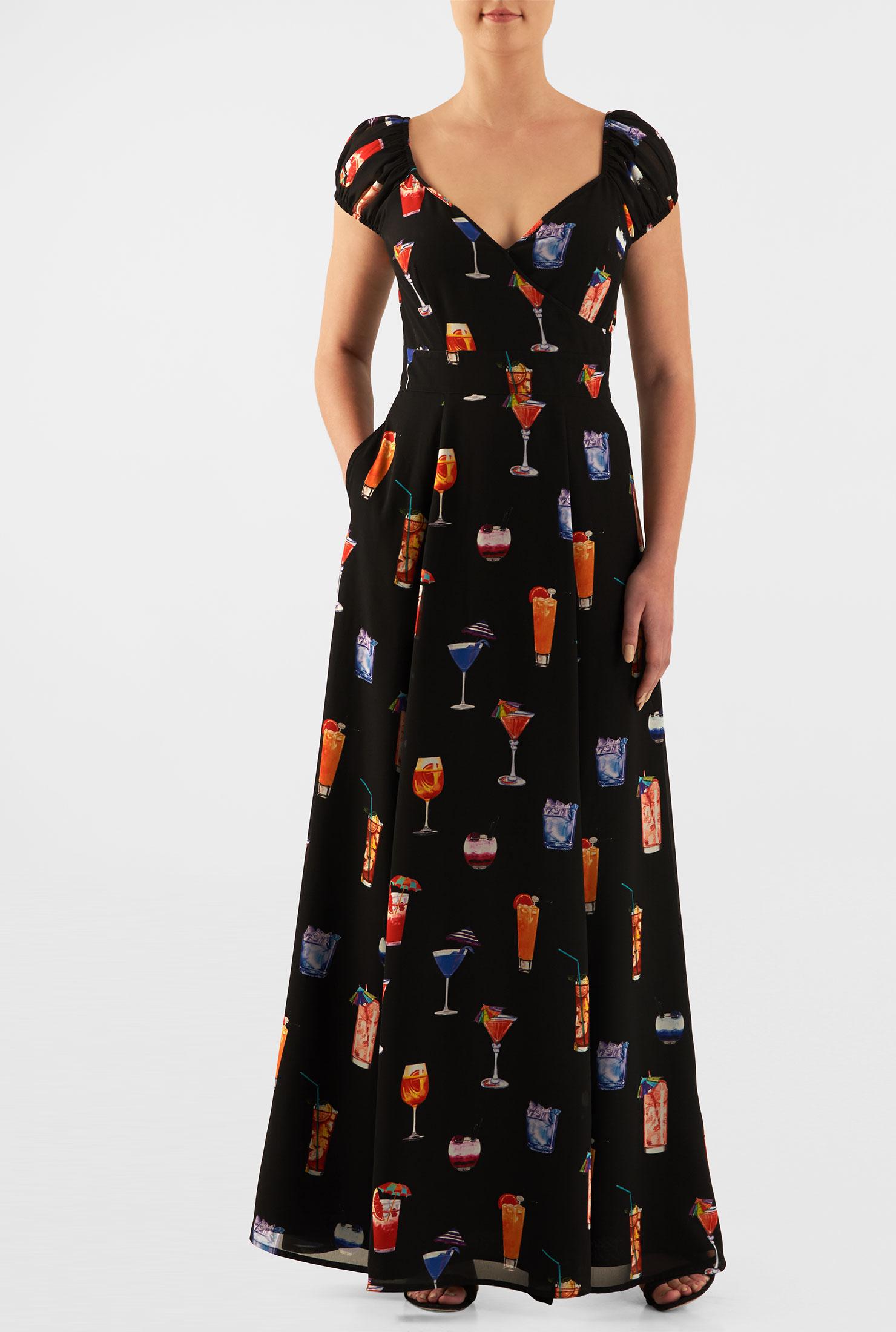 Eshakti Womens Wine Cooler Print Georgette Surplice Maxi Dress