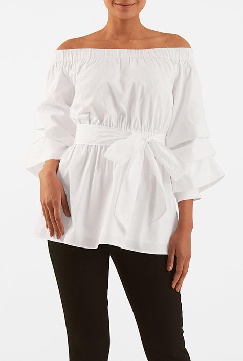 eShakti Women's Off-shoulder sash tie cotton poplin blouse
