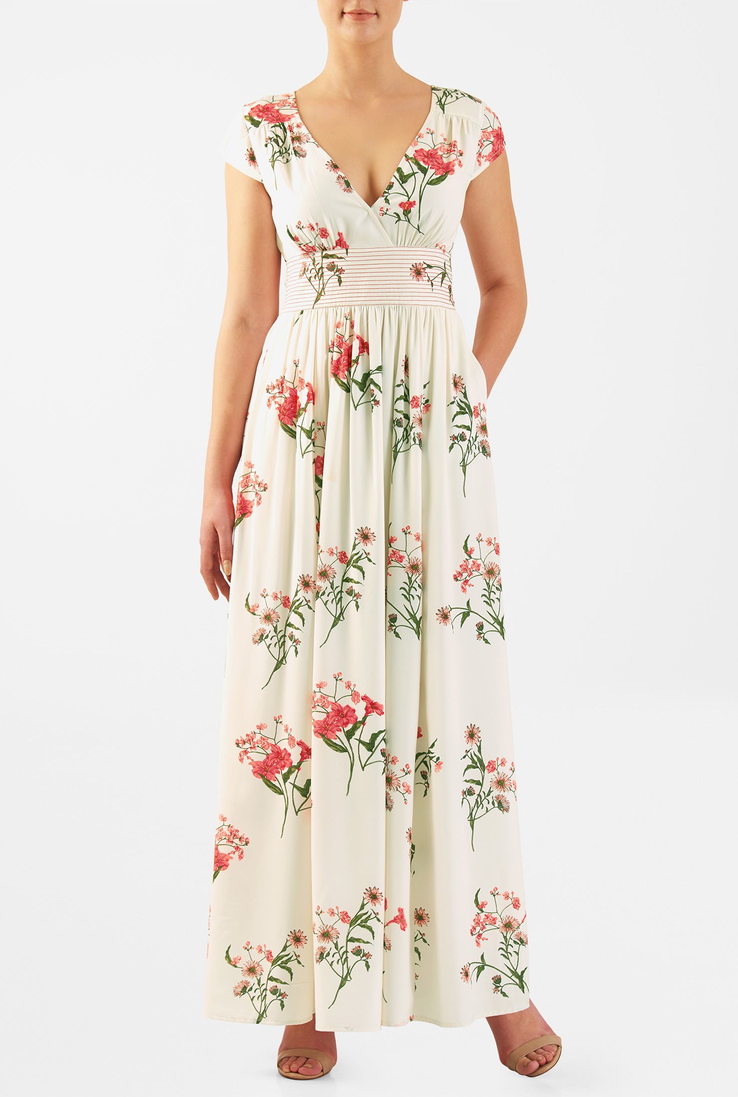 Eshakti Womens Floral Print Trapunto Stitch Waist Maxi Dress
