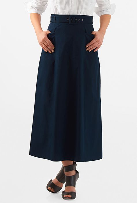 Tea Length 1930s Style Skirts for Sale eShakti Womens Belted cotton poplin maxi skirt $35.95 AT vintagedancer.com