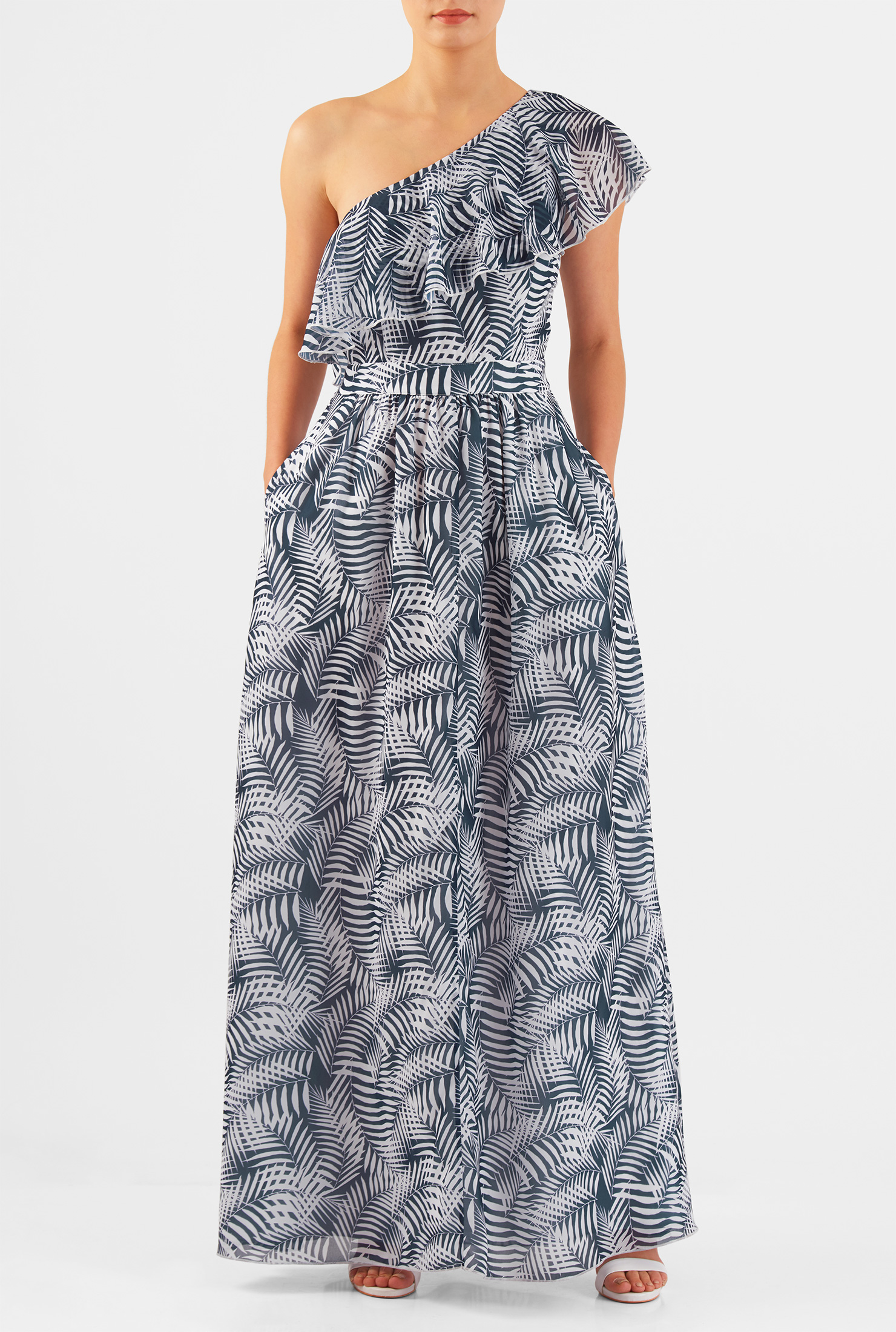 Eshakti Womens Ruffle One-shoulder Palm Print Georgette Maxi Dress