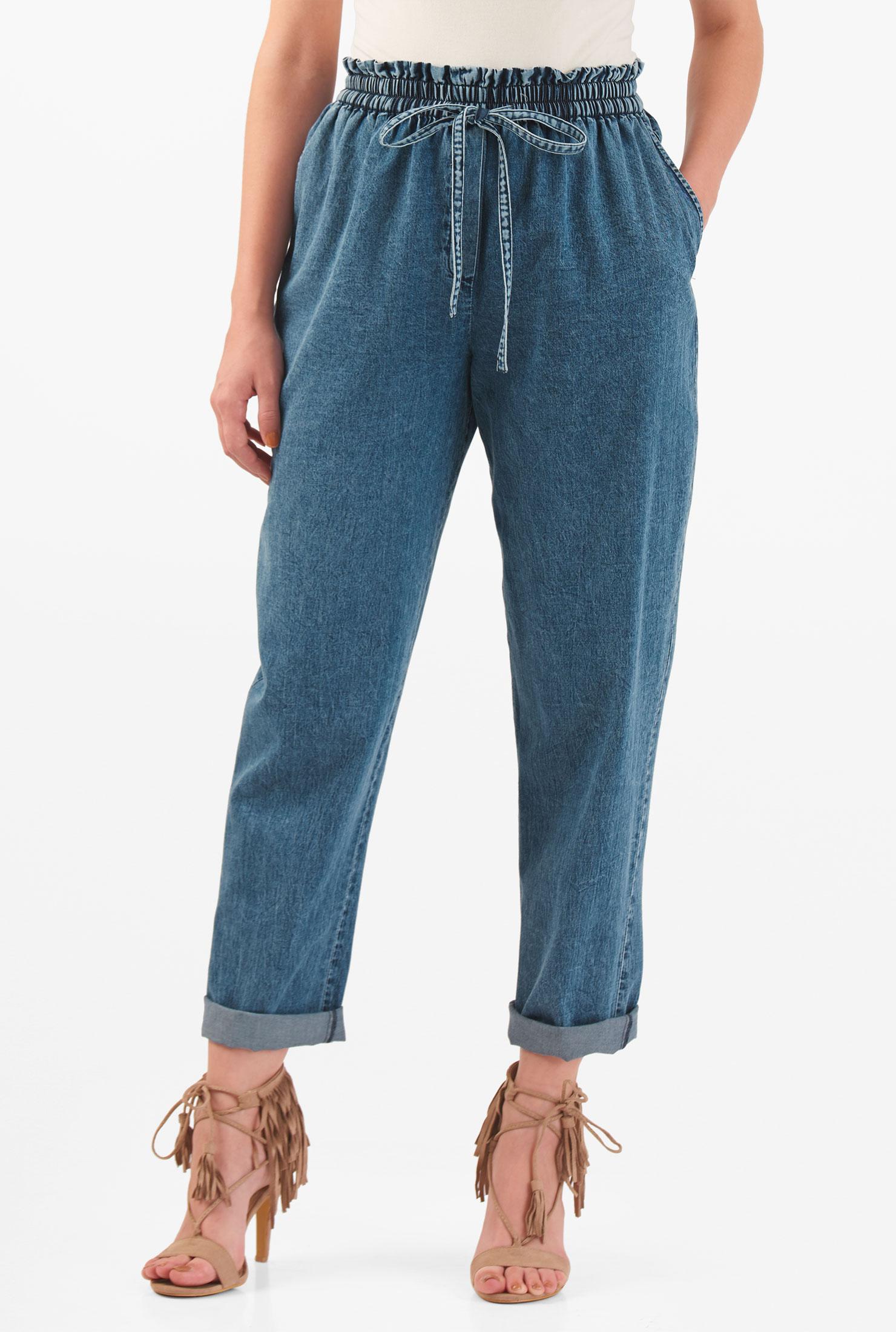 eShakti Women's Paperbag elastic waist cotton denim pants CL0048539