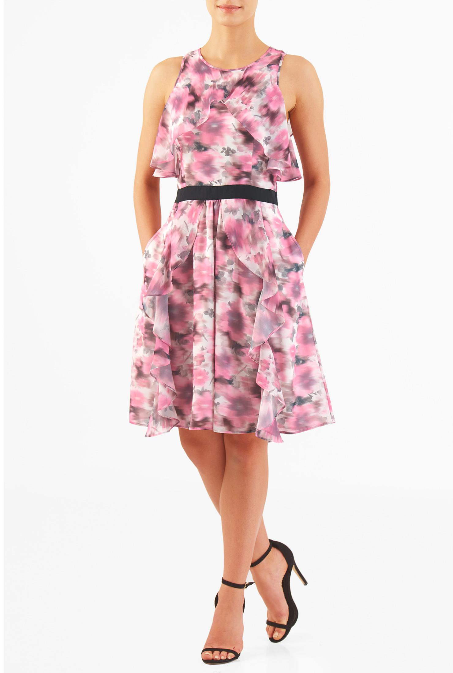 Eshakti Womens Floral Wash Print Ruffle Georgette Dress